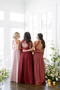 Model on left: Britt, Size: 4, Color: Rose Quartz | Model in middle: Charisse, Size: 16, Color: Cabernet | Model: Saije, Size: 4, Color: Rosewood