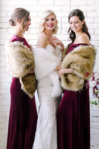 Faux Fur Shrug Bridesmaid Brown