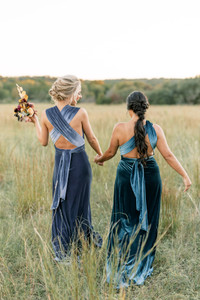 Model on Left: Britt, Size: 4, Color: Indie Blue | Model on Right: Laryssa, Size: 8, Color: Desert Blue