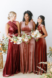 Model on left: Britt, Size: 4, Color: Romantic Rose  Model in Middle: Charisse, Size: 16, Color: Dusty Rose Model on Right: Jocelyn, Size:4, Color: Terracotta
