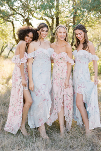 Models left to right:  Carneshia, Size 2, Color: Blush Floral  Sophia, Size 8, Color: Blue Floral  Britt, Size 2, Color: Blush Floral  Lindsey, Size 4, Color: Blue Floral