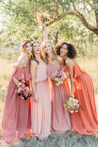 Models left to Right:  Sophia, Size 8, Color: Cinnamon Rose  Lindsey, Size 4, Color: First Kiss Pink  Britt, Size 2, Color: Desert Rose  Carneshia, Size 2, Color: Rust