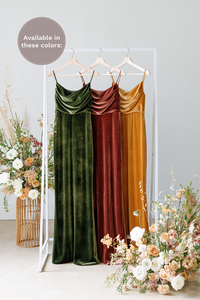 Velvet by the yard is available in Olive, Terracotta and Mustard (named from left to right).