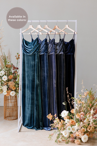 Velvet by the yard is available in Desert Blue, Royal Blue, Indie Blue, Slate Blue, and Navy (named from left to right).