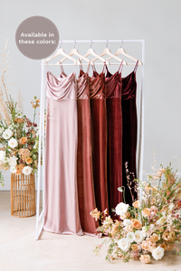 Velvet pocket squares are available in Blush, Dusty Rose, Terracotta, Romantic Rose and Burgundy (named from left to right).