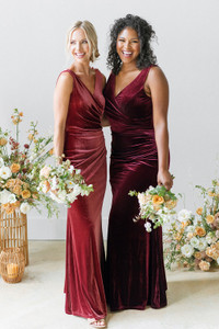 Model on Left: Britt, Size: 4, Color: Romantic Rose  Model on Right: Charisse, Size: 16, Color: Burgundy