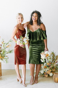 Model Left: Britt, Size: 4, Color: Terracotta  Model Right: Charisse, Size: 16, Color: Olive