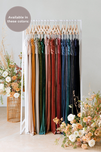 Quinn is available in White Pearl, Champagne, Mustard, Sage, Olive, Emerald, Blush, Dusty Rose, Terracotta, Dusty Purple, Romantic Rose, Burgundy, Royal blue, Indie Blue, Desert Blue, Slate Blue, Navy, Black (named from left to right).