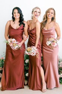 Model on Left: Claudia, Size: 16, Color: Terracotta Rust | Model in Middle: Britt, Size: 4, Color: Cinnamon Rose | Model on right: Mercedes, Size: 8, Color: Desert Rose