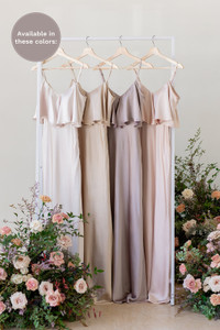 Flora is available in Soft Champagne, Gold Champagne, Taupe, and Blush (named from left to right).