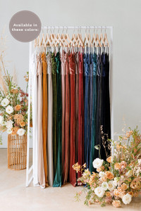 Giselle is available in White Pearl, Champagne, Mustard, Sage, Olive, Emerald, Blush, Dusty Rose, Terracotta, Dusty Purple, Romantic Rose, Burgundy, Royal blue, Indie Blue, Desert Blue, Slate Blue, Navy, Black (named from left to right).