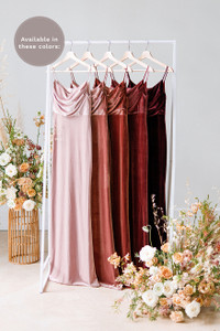 Giselle is available in Blush, Dusty Rose, Terracotta, Romantic Rose and Burgundy (named from left to right).