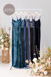 Esther is available in Desert Blue, Royal Blue, Indie Blue, Slate Blue, and Navy (named from left to right).