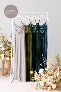 Esther is available in Sage, Olive, Emerald, and Desert Blue (named from left to right).