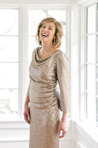 Model: Debby, Size: 4, Color: Champagne Sequin (coming soon!)