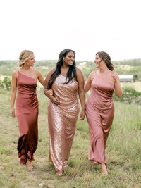 Model: Laken; Size: 16; Color: Rose Gold Sequin (Left: pictured with the Jade satin Cinnamon Rose satin) (Right: pictured with the Jade satin Desert Rose satin)