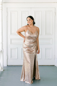 Model: Claudia; Size: 16; Color: Rose Gold Sequin
