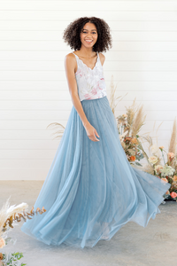 Skylar Bridesmaid Tulle Skirt in French Blue.