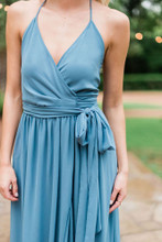 Hannah Bridesmaid Dress in Desert Blue Chiffon