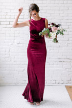 Sample Cleo Velvet Dress - Burgundy