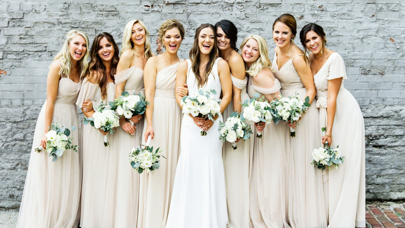Champagne Fabric And Mix and Match Styles Lead To The Neutral Nuptials You've Been Dreaming Of