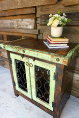 Iron Door Side Cabinet in MInt