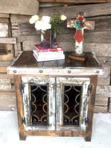 Iron Door Side Cabinet in White