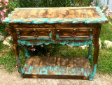 Ombre Sofa Table in Turquoise