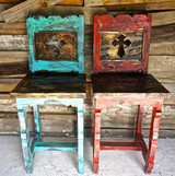 Cross Bar Stools in Turquoise & Red