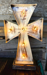 Cross 2 Metal Marquee in White