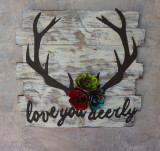 Love you Deerly Rustic Wall Art