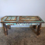 Old Door Hand-Carved Coffee Table