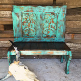 Rustic Handmade Carved Agave Bench shown in Turquoise