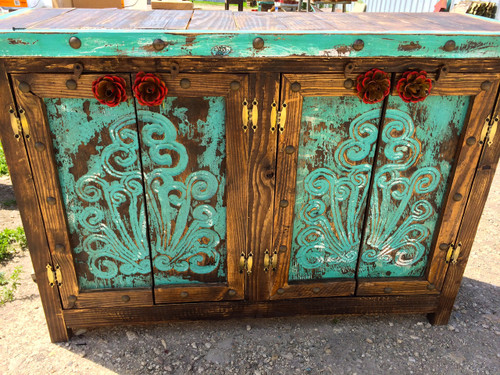 Agave Rose Door Buffet in Turquoise
