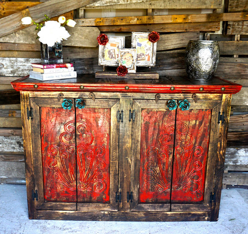 Agave Rose Door Buffet in Red