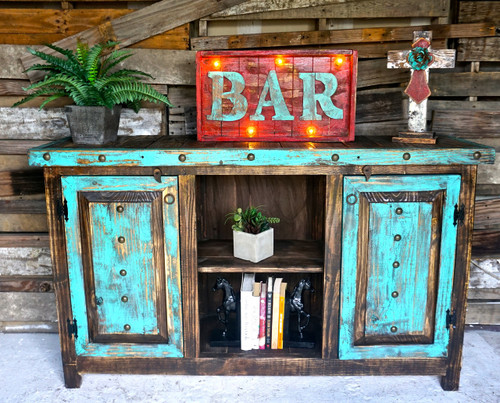 Hide Away Cabinet in Turquoise