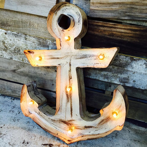 Lighted Anchor in White