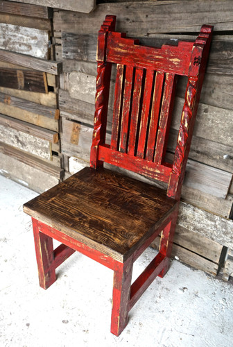 Azteca Carved Dining Chair in Red