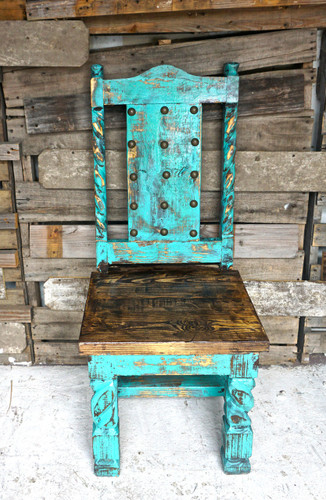 Laredo Dining Chair in Turquoise (Front View)