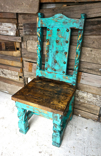 Laredo Dining Chair in Turquoise (Side View)