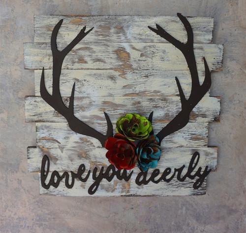 Love you Deerly Rustic Wall Art