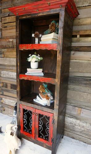Benito Rustic Bookcase shown in Red