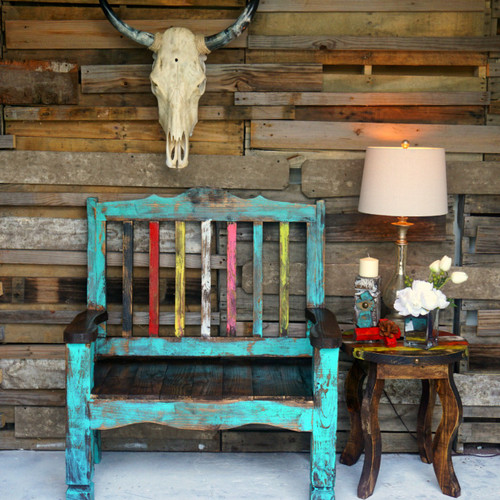 Zarape Rustic Bench Shown in Turquoise