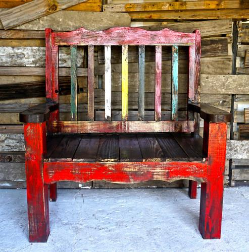 Zarape Rustic Bench Shown in Red