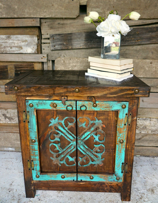Reyna Side Cabinet shown in Turquoise