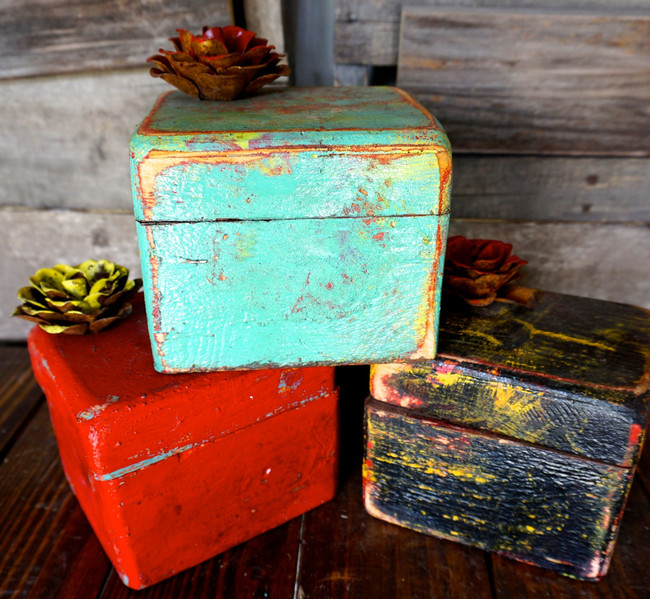 Jewelry Trinket Boxes in Turquoise Fiesta, Red Fiesta, & Black Fiesta