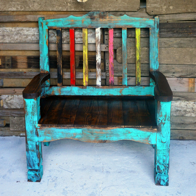 Zarape Rustic Bench Shown in Turquoise