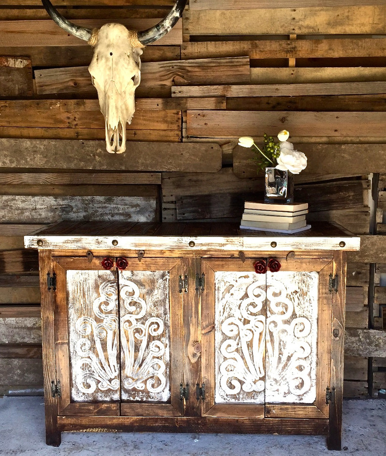 Agave Rose Door Buffet in White