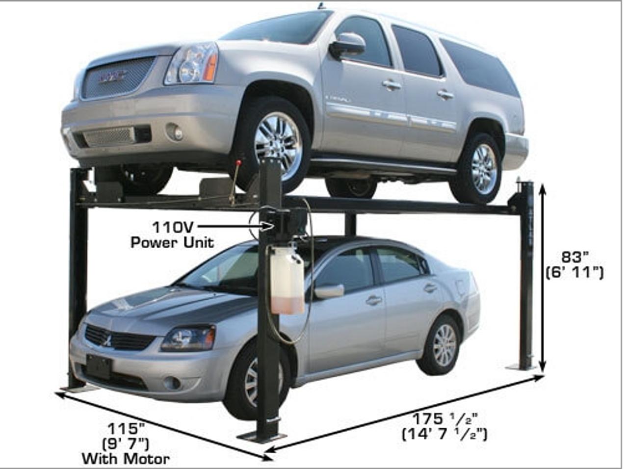 Atlas® Automotive Equipment Garage Pro 8000 4 Post Lift 8,000 lbs