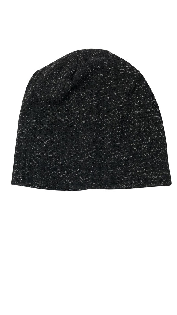Ribbed Shimmer Knit Beanie